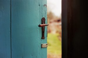 a teal door opening with a blurry grassy scene viewable beyond the door